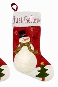 Snowman Christmas Stockings Just Believe Mantel Decor ...