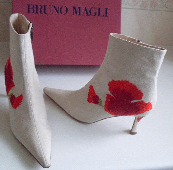 Bruno Magli Crema y Rojo Diseño Floral TOBILLO BOTAS TALLA nos 8.5 Nuevo