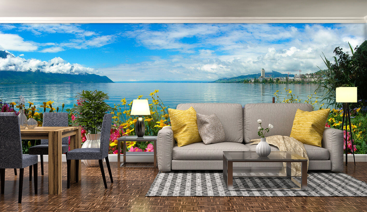 3D flower Farbeful landscape Wall Paper Print Decal Wall Deco Indoor wall Mural