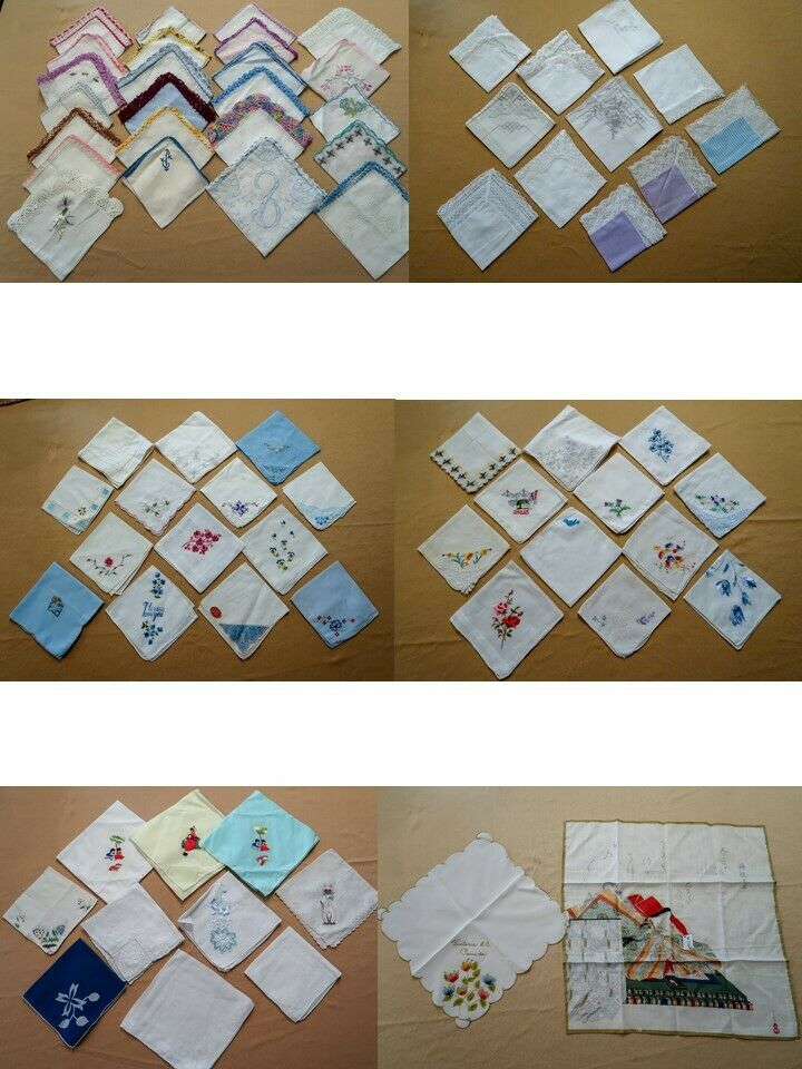 Vtg Hankies Crochet Edges Embroidered Printed Lace See Photos Good Variety = 73