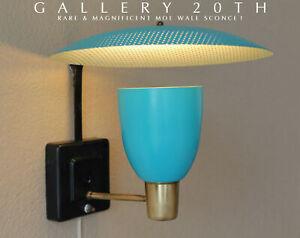 ICONIC-MID-CENTURY-MODERN-MOE-ATOMIC-SAUCER-LAMP-BLUE-VTG-SPUTNIK-50-039-S-SCONCE