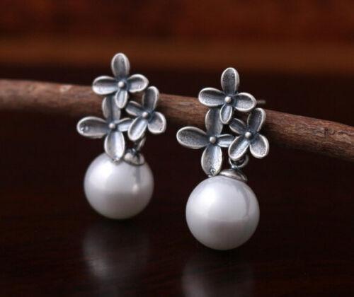 T08 Ohrringe Ohrstecker Antik-Stil Blume Blüten Perlen 925 Sterlingsilber