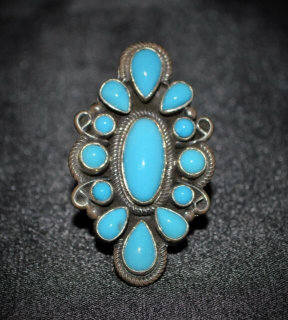 Sleeping Beauty Turquoise & Sterling Silver Ring, Hallmarked D Livingston #T5111