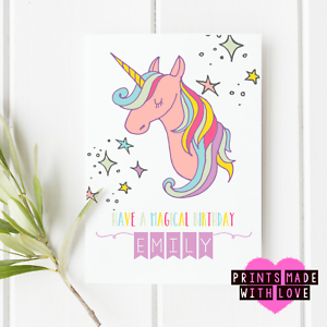 Image Is Loading Unicorn Birthday Card Personalised Happy Daughter Niece