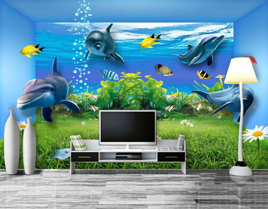 3D Rasen-Delfine 853 Tapete Tapete Tapete Wandgemälde Tapete Tapeten Bild Familie DE Summer  | Bevorzugtes Material  | Einfach zu bedienen  | Eleganter Stil  c364e8