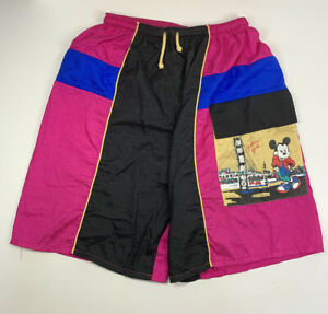 Disney Mickey Mouse Golden Gate Bridge San Fran Vintage 80's Shell Swim Shorts S