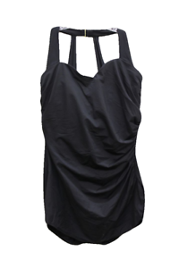 Miraclesuit-Black-Draped-Gold-Hook-One-Piece-Swimsuit-Size-US-8