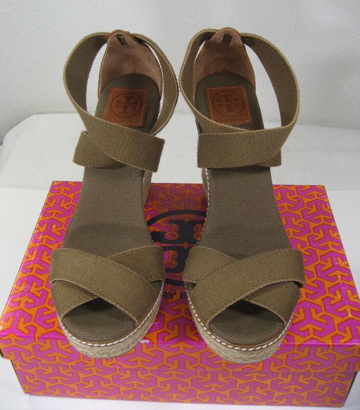 NEW TORY BURCH Adonis Adonis Adonis Wedge Espadrille US 11 Olive Elastic Almond Leather Sandal 4b8131
