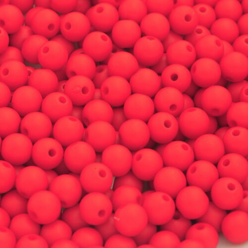 """3//8/"""" 300PCs Acrylic Matte Red Round Ball Spacer Beads 8mm Dia."""