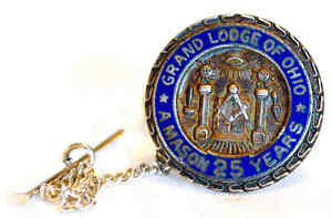 Details about VINT ENAMELED STERLING SILVER GRAND LODGE OHIO MASON 25YR TIE  TACK MYSTIC OCCULT