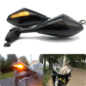 Rearview Mirrors with LED Turn Signals for Honda RC51 RVT1000R CBF1000 Black