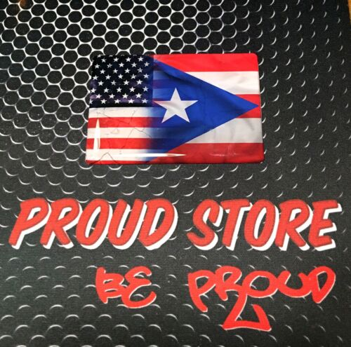 "America USA Puerto Rico Dual Country Domed Decal Distressed Sticker 3D 3.25/""x 2/"""
