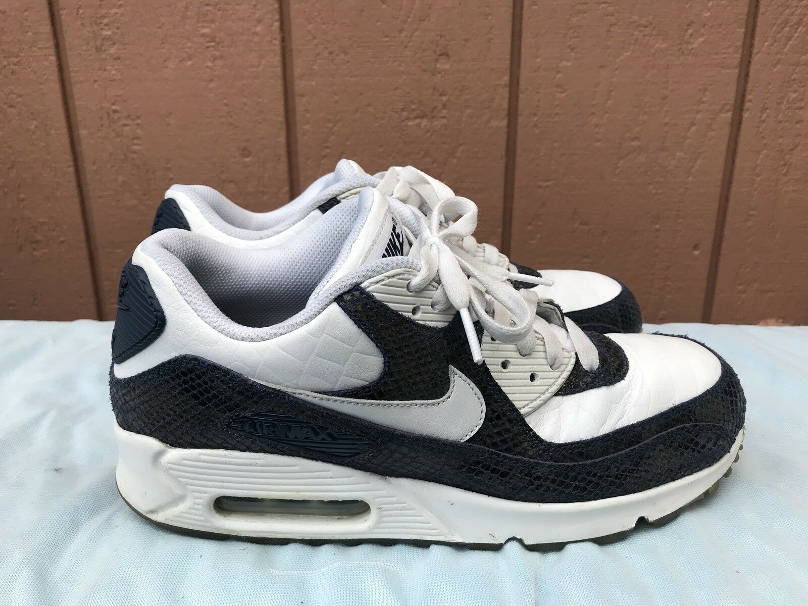 Nike iD Air Max 90 Men's 8.5 Animal Snakeskin White Blue 708279-991 Sneakers A4