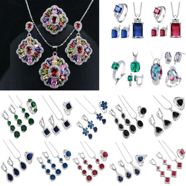 Fashion 925 Silver Jewelry Set Sapphire Gems Pendant Neckalce+Earrings+Ring Gift