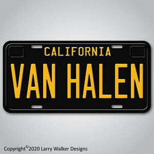 Van-Halen-Eddie-Van-Halen-Black-California-Aluminum-License-Plate-Tag-New