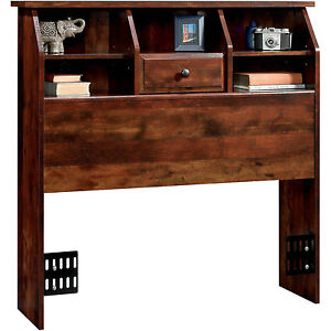 Twin Storage Headboard With Bookcase Drawer Rustic Cherry