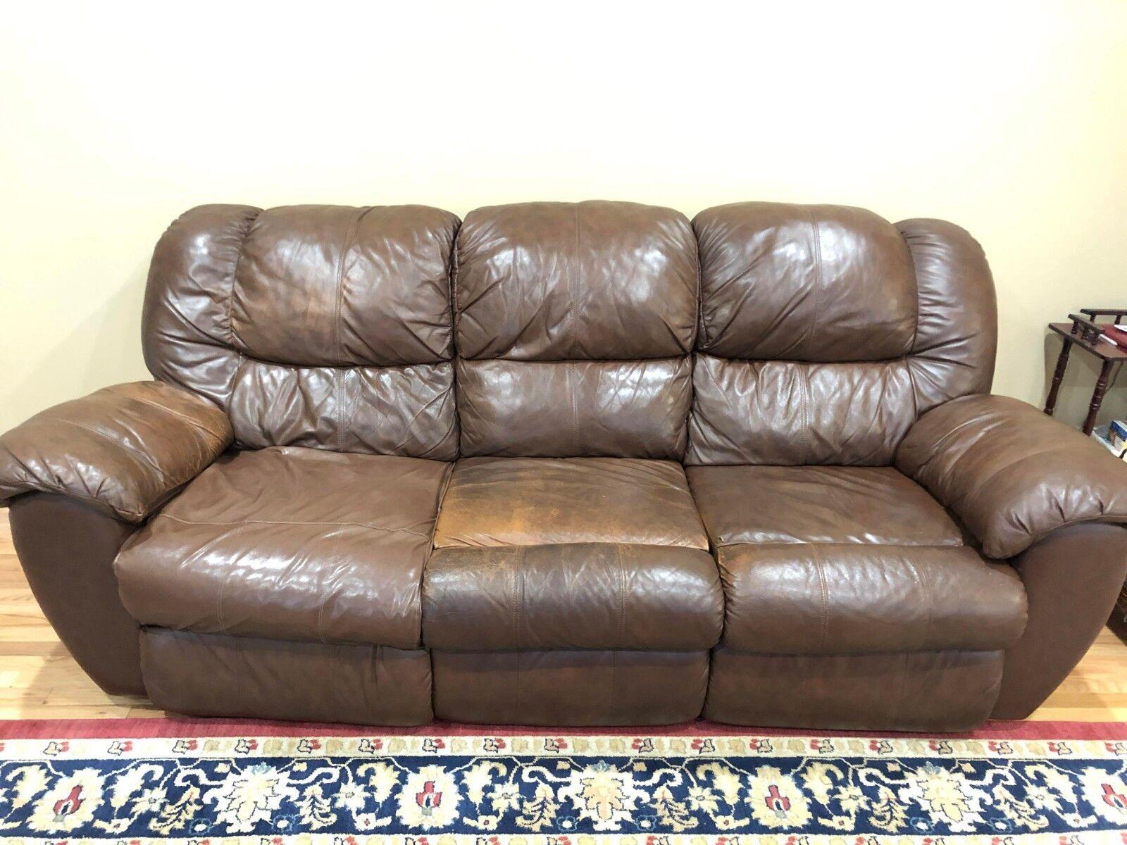 Ashley 3 Piece Leather Sofa Set Brown