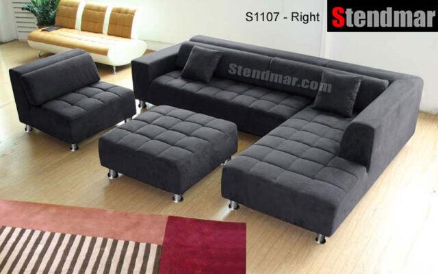 4 Piece Dark Grey Microfiber Sectional Sofa Set S1107rdg