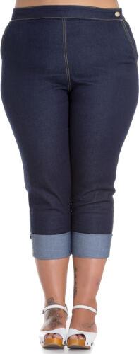 Hell Bunny Ronnie Denim Vintage 50s Jeans Capri Pantaloni Rockabilly Plus size