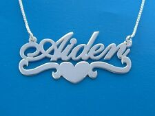 Silver Name Necklace Heart design ORDER ANY NAME free chain, free shipping WOW!!