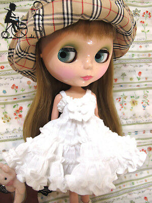 beige c-mb-055 C.C.T Middie Blythe doll outfit  ruffle slipdress