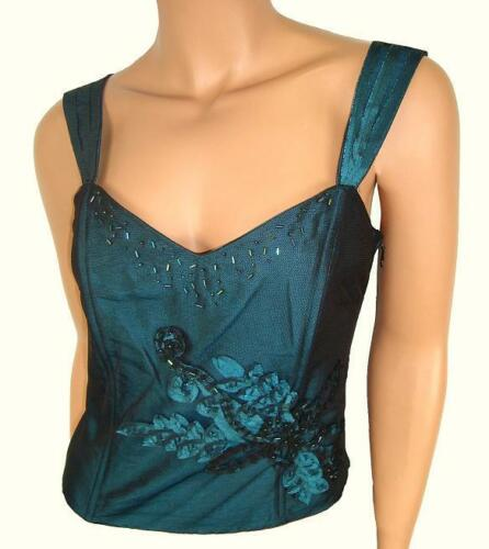 SUPERB QUALITY TURQUOISE TEAL BODICE CAMISOLE CORSET TOP SIZES 8 12