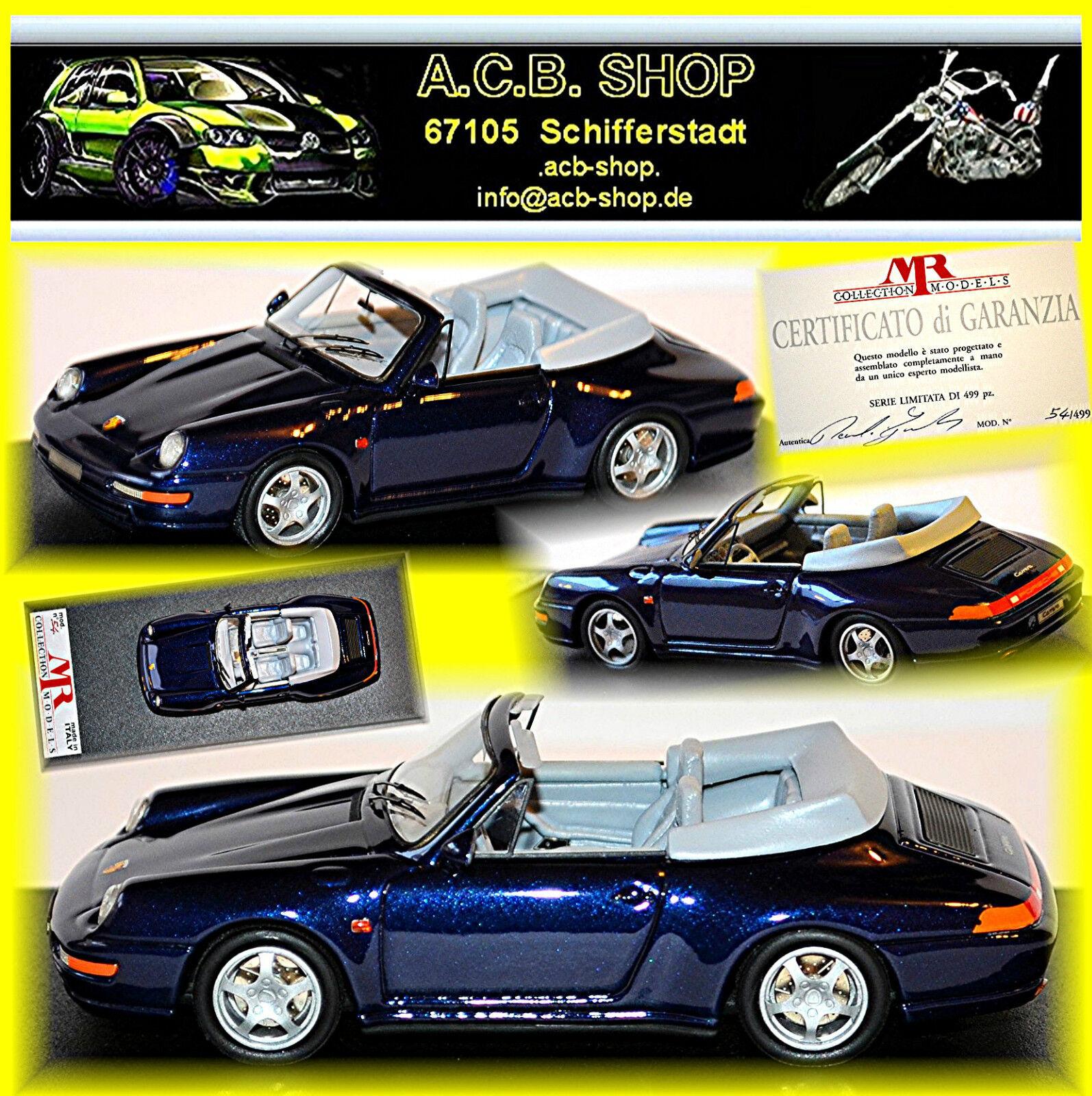PORSCHE 911 993 Carrera Cabriolet 1994 BLU blu 1:43 MR-MODEL