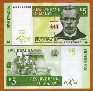 P-36 5 Kwacha Unc 1997 36a Malawi / Africa