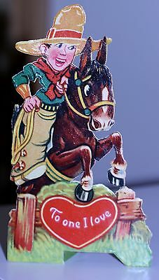 "GERMANY ANTIQUE DIE CUT STAND UP VALENTINE cowboy horse ""To one I love"""