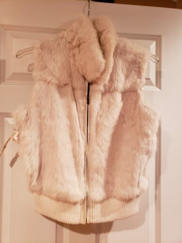 Fur Faux Vest Fauz Kvinder Trim Solid Zip Leather Cream Krave W Hvid Up gXqqwa