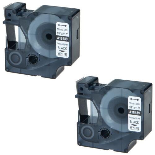 "2 PK For DYMO Rhino 4200 5200 3//4/"" Flexible Nylon Label Tape 18489 3M PL150 200"