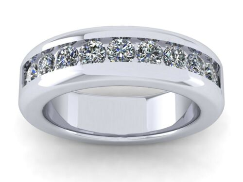 Cus 1.1Ct Round Cut Classic Channel Set Mens Ring Solid 18k White Gold F VS2