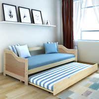 Pull Out Sofa Bed Wooden Day Daybed Trundle Solid Wood Beds 4 Wheels Natural