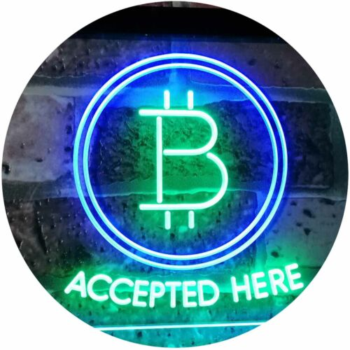 Bitcoin Crypto currency Bar Dual Color Led Neon Sign st6-i3086