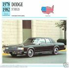 DODGE ST REGIS 1978 1982 CAR VOITURE USA ETATS-UNIS CARTE CARD FICHE