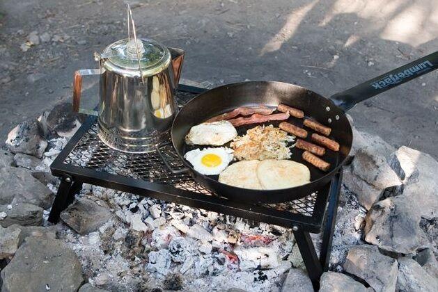 Parrilla de cocción al Aire Libre Barbacoa Portátil fogata acero equipo para acampar Utensilios de Cocina Nuevo