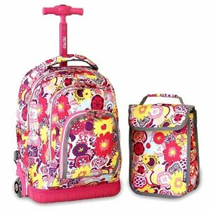 Kids Rolling Backpack Lunch Bag Girls Poppy Pansy Light Up Wheels ...