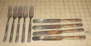 1847 Rogers Bros. Warranted 16 DWT Knives (4) & Forks (5) with Matching Patterns