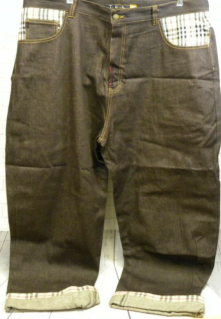 The Hip Hop Elements T.H.E Brown Plaid Trim Jeans Size 44 In Pursuit of Truth