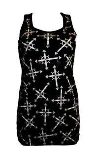 Womens Girls Multicolour Skulls Emo Goth Cartoon Punk Long Vest Top Racer Back