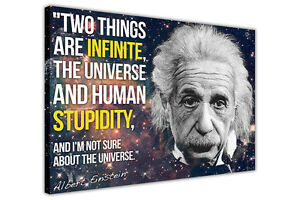 Details Zu Albert Einstein Stupidity Quote Funny Canvas Wall Art Prints Pictures Posters