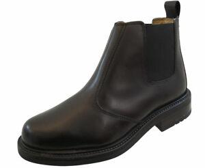 nera Dealer da stivali Ankle Mens ufficio Chelsea formale lavoro pelle casual in Gents pqfgH