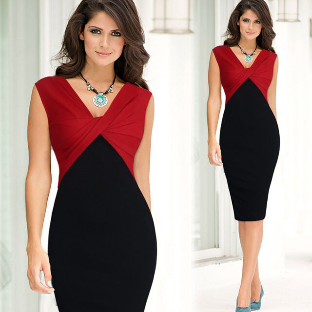 Women Twist Colorblock Party Slim Bodycon Business Career Office Pencil Dress