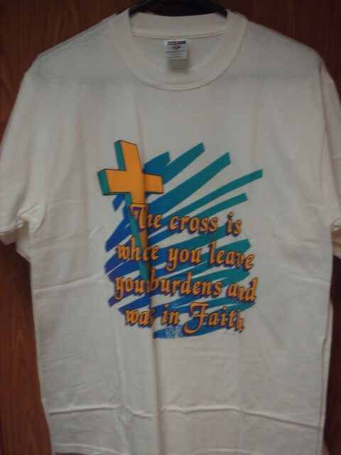 M Medium JERZEES T-shirt White Christian Cross Leave Burdens Walk In Faith