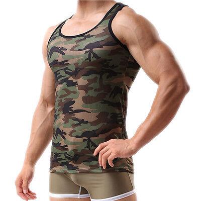 Homme vert arméeCamo camouflage musclegym musculation T-Shirt débardeur gilet 6H