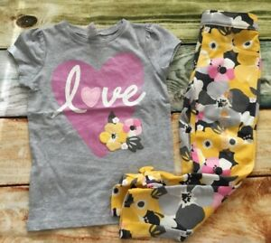 Gymboree-Bright-Owl-3T-4T-Love-Heart-Top-Floral-Bow-Pants-Yellow-NWT-Outlet