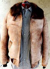 Vintage Shearling Sheepskin Coat Jacket Bomber Designer