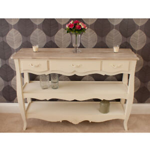 Devon Console Table 3 Drawers 2 Shelves In French Style Shabby Chic