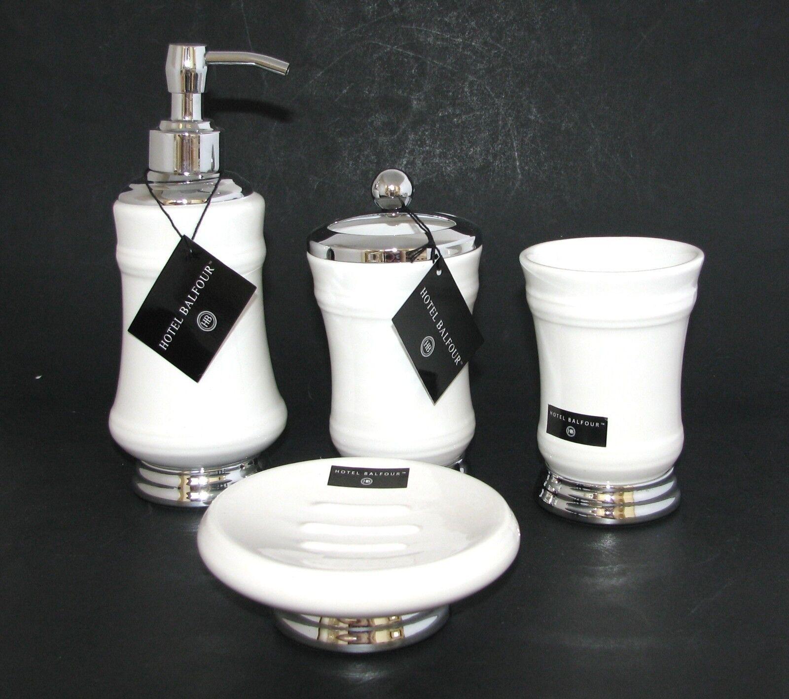 Neu Hotel Balfour 4PC Set Weiße Keramik SeifenspenderSchaleZahnbürsteBecher   Wirtschaft