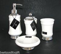 Hotel Balfour 4pc Set White Ceramic Soap Dispenser+dish+toothbrush+tumbler